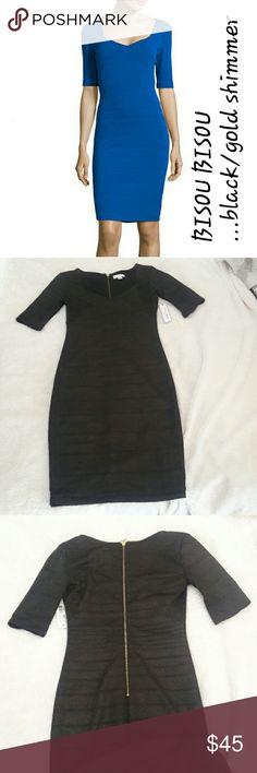 "Bandage Dress Elegant bandage dress in black with a subtle gold shimmer features a half sleeve. Heavy duty back zipper closure. Sweetheart neckline. 94% polyester 6% spandex. Length 38"" Bust 33"" without stretching. Bisou Bisou Dresses"