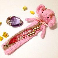 Amigurumi Elephant Crochet Elephant Bag Pencil Case Cosmetic Pouch Kids Bag School Supply Girls Accessories Kawaii Pink Gift Ideas
