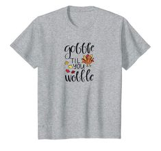 Kids Gobble Til You Wobble Kids Youth Thanksgiving Day T-Shirt