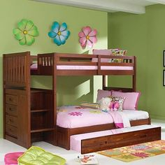 Merlot Twin Full Staircase Bunk with Trundle. Details at http://youzones.com/merlot-twin-full-staircase-bunk-with-trundle/