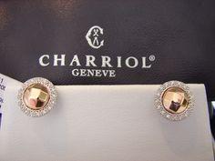 Unique & Stunning Charriol 18k Rose Gold  Faceted Stud Diamond Earrings On Sale!  http://www.ebay.com/itm/311278036929?ssPageName=STRK:MESELX:IT&_trksid=p3984.m1555.l2649