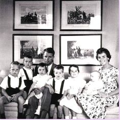1958, six children, this time posing in yet another room with a series of prints above the tweedy sofa. This may be the library. The boys all look so cute in their matching shorts and suspenders!♥❃❋✽✾❀❃ ♥ http://en.wikipedia.org/wiki/Ethel_Kennedy  http://en.wikipedia.org/wiki/Robert_F._Kennedy