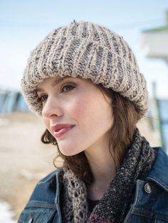 """Donnely Hat Kit - priced from $29.90 to $37.90. """"Keep ears warm and toasty with a cozy Fisherman's rib hat, knit flat and seamed."""""""