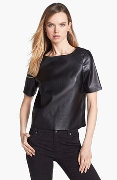 Vince Camuto Quilted Shoulder Faux Leather Top available at #Nordstrom
