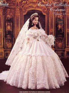 1840 Queen Victoria's Wedding Gown for Barbie Paradise #43 Crochet PATTERN NEW