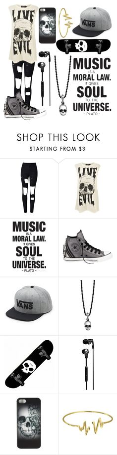 """Untitled #174"" by musiclover135 ❤ liked on Polyvore featuring WithChic, Evil Twin, Converse, Vans, King Baby Studio, Skullcandy, Metal Mulisha and Bling Jewelry"