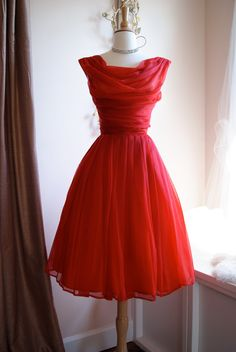 Vintage 1960s siren red chiffon cocktail party dress.
