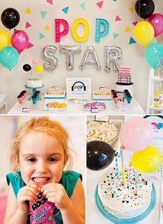 A Colorful & Modern Pop Star Party Dessert Table // Hostess with the Mostess - - I'm excited to share some more details from our Ultimate Pop Star Party project with KIDZ BOP! Dessert Party, Party Desserts, Dessert Table, Star Wars Logos, Party Favors, Birthday Party Decorations, Birthday Ideas, 33rd Birthday, Baby Birthday