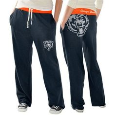 Chicago Bears Ladies Recruit Fleece Pants - Navy Blue.  Would love to have a pair to lounge in this winter.....