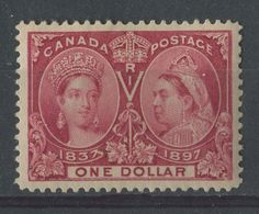 The $1 lake Diamond Jubilee issued on June 19, 1897. This was originally issued to pay the postage on very large bulk mailings, like 1,000 newsletters. Very few were used and perfect examples sell at over $5,000 at auction.