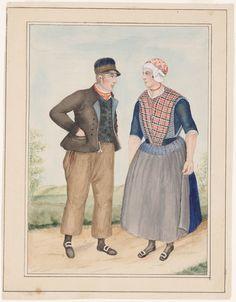 man en vrouw in dracht, Noord-Veluwe 1842-1864 kunstenaar: Haasloop Werner, Heinrich Gottfried #Veluwe #Gelderland #oudedracht
