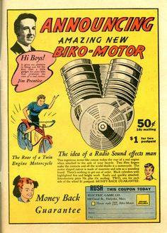 The roar of a twin engine motorcycle, the amazing new Biko Motor...the idea of a radio sound effects man OR go the peg and playing-card route.