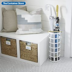 Our Tosca Umbrella Stand is as much a work of art as it is functional! Beautifully crafted from steel, even the openings are functional too; they allow air to circulate helping to dry wet umbrellas. Use one in your home's entryway or in an office. (Also shown: Water Hyacinth Cubes) Toy Storage Cubes, Decorative Storage Bins, Shop Storage, Storage Baskets, Wall Mounted Desk, Benches For Sale, Water Hyacinth, Drawer Unit, Shelving