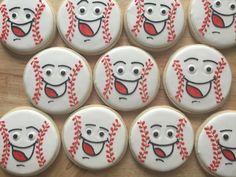 Happy baseball cookies by Tamara Herman Iced Cookies, Cute Cookies, Cupcake Cookies, Sugar Cookies, Cupcakes, Cookie Pops, Cookie Frosting, Royal Icing Cookies, Baseball Cookies