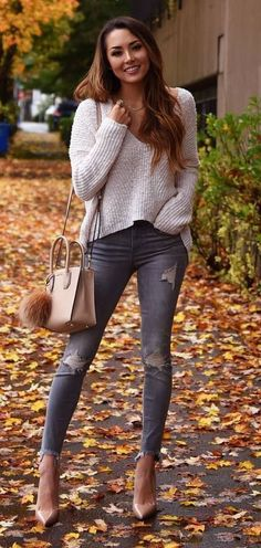 fall outfit of the day: knit + ripped jeans + bag + heels