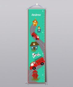 Take a look at this Firetruck Personalized Growth Chart by BirdRow on #zulily today!