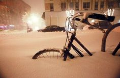 Bicycle in snow...I love the light capture here..