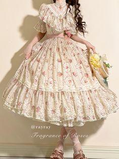 Pretty Outfits, Pretty Dresses, Beautiful Dresses, Cute Outfits, Kawaii Fashion, Lolita Fashion, Aesthetic Fashion, Aesthetic Clothes, Vintage Dresses