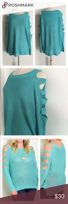 """Blue cut out sweater Blue cold shoulder sweater. 100% acrylic. Extremely soft with great stretch! Great oversized look for fall and winter. Stock photo makes this look thin and sheer- it is not either of those!  XXL: L 29"""" • B 52"""" Availability: XXL • 1  ⭐️This item is brand new from manufacturer with tags.  🚫NO TRADES 💲Price is firm unless bundled 💰Ask about bundle discounts Sweaters Crew & Scoop Necks"""