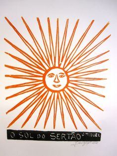 O SOL DO NORDESTE This colored woodblock print, called a xilogravura, depicts the brilliant and hot sun of the sertão, the dry, hot backlands of Bra Popular Art, Make Art, Woodblock Print, Fabric Design, Sun, History, Prints, Pattern, Handmade