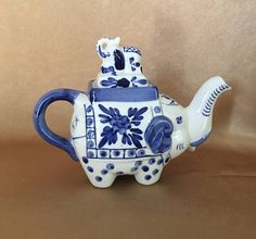Elephant Teapot Chinoiserie Home Blue and White Asian