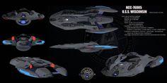 Starship Wisconsin Class by on DeviantArt Spaceship Art, Spaceship Design, Star Trek Games, Starfleet Ships, Starship Concept, Star Wars Vehicles, Sci Fi Ships, Star Trek Starships, Space Battles