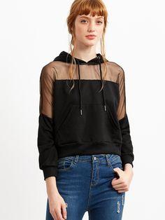 Black Hooded Sheer Mesh Insert Sweatshirt