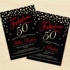 50th Birthday Invitation / 30th / 40th / 60th / 70th / 80th /  90th / Black Red Gold / Digital Printable Invitation / Customized