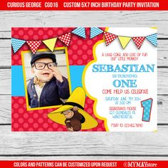 Curious George birthday party photo invitation by MYMAYstore, $10.00