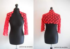 how to crochet flower red bolero shrug for beginners free pattern  Pattern ($) http://www.craftsy.com/pattern/crocheting/clothing/crochet-red-bolero-shrug-pattern-pdf/112462