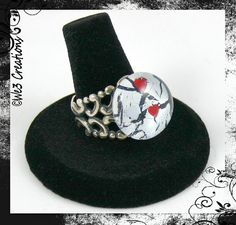 White and Black with Red Hearts Marble Ring by We3Creations01, $13.00