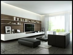 Modern Monochromatic Living Room With Wood Wall Panel And Dark Furniture