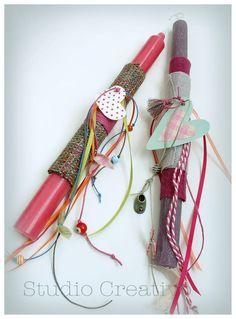 Easter Candle Hearts & Ribbons IIΙ by StudioCreativo on Etsy Easter Candle, Heart Painting, Ribbons, Diy And Crafts, Hearts, Crafting, Candles, Studio, Holiday