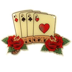 Items similar to 1 x Tattoo Playing Cards - 'Lucky' Charm Pendant on Etsy Ace Tattoo, Club Tattoo, New Tattoos, Tatoos, Tattoo Pics, Playing Card Tattoos, Playing Cards, Lucky Charm, First Tattoo