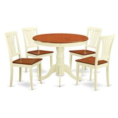 East West Furniture ANAV5WHIW 5Piece Kitchen Table Set ButtermilkCherry Finish * Want additional info? Click on the image.