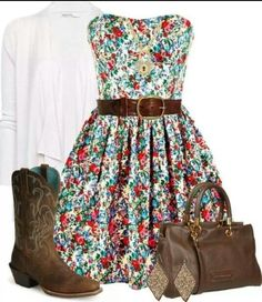 I love this girly outfit :) flowery dress, cowgirl boots, belt and white cardigan Country Girl Outfits, Country Fashion, Cowgirl Outfits, Love Fashion, Country Dresses, Cowgirl Dresses, Flowery Dresses, Cute Dresses, Party Dresses