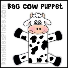 Paper Bag Cow Puppet Craft from www.daniellesplace.com