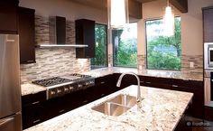 Modern Backsplash Tile Espresso Cabinet Gold Countertop