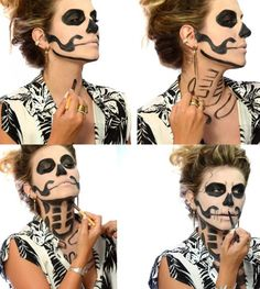 Halloween make-up – do it step by step - Makeup Tutorial Smokey Easy Skeleton Makeup, Skeleton Makeup Tutorial, Halloween Skeleton Makeup, Costume Halloween, Halloween Crafts, Diy Skeleton Costume, Skeleton Body, Hippie Make Up, Maquillage Halloween Simple