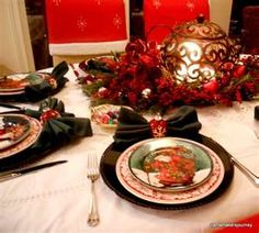 Christmas tablescape red transferware