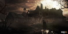 Concept art for the Baker's mansion from Resident Evil Arte Horror, Horror Art, Science Fiction Art, Science Art, Resident Evil 7 Biohazard, Highway To Hell, Zombie Art, World Of Darkness, Game Concept Art