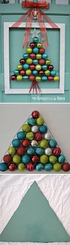Framed Christmas Tree Ornament Wreath.