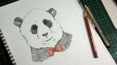 """panda"",  micron drawing pen 0.2 & 0.5 + watercolour pencil on canson 80 gr."