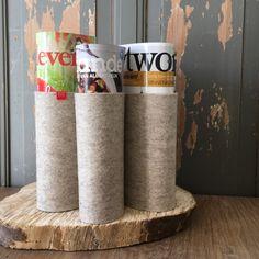 Tijdschriftenhouder KRANTE   #Tijdschriftenhouder #KRANTE. #handmade van 100% #wolvilt #vilt #woolfelt. Een originele manier om je #tijdschriften te kunnen #opbergen.