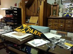 Looking through the old scrapbooks for photos for the official Park History Book we are creating.