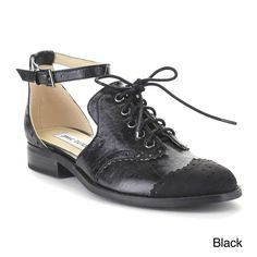 6a9f2268b Beston Aa85 Women s Lace Up Cut Out Flat Heel Ankle Strap Oxfords Black  Lace Up Flats