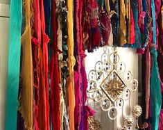 Moon Goddess Curtain – custom colors you get to choose – - Bohemian Home Gypsy Rag Curtains, Hippie Curtains, Patchwork Curtains, Beaded Curtains, Gypsy Home Decor, Boho Decor, Aztec Decor, Bohemian Decorating, Plywood Furniture