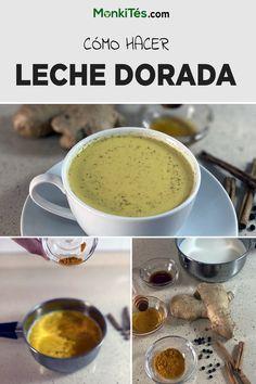 La receta más fácil y deliciosa de leche dorada en tu blog favorito de té. Aprovecha los beneficios y las propiedades que la cúrcuma, el jengibre y la canela tienen en tu salud. Curcuma Latte, Beverages, Drinks, Cafe Bar, Tea Time, Cupcake, Coffee, Ethnic Recipes, Ideas