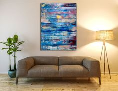 Thick layered colorfield style piece with vibrant shades of blue, yellow undertones and gestural green paint strikes. Contemplative, calming feel and lots of depth. High quality Golden acrylics and...