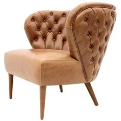 Italian Modern Chesterfield Style Tan Button Backed Leather Armchair 1